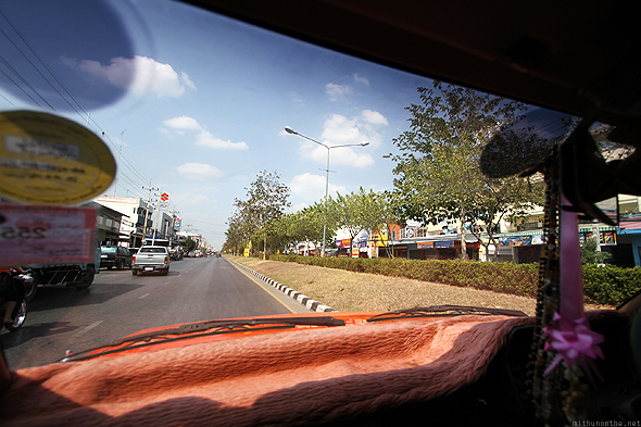 Kanchanaburi town, taken from inside a taxi