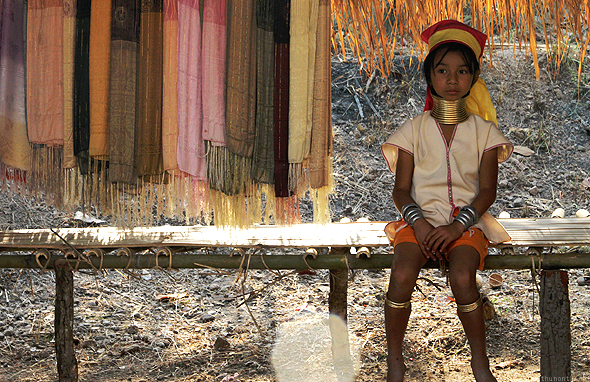 Young Karen girl selling handicrafts