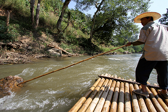 Our bamboo raft stuck