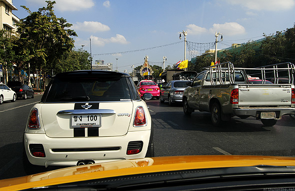 Bangkok afternoon traffic Mini Cooper