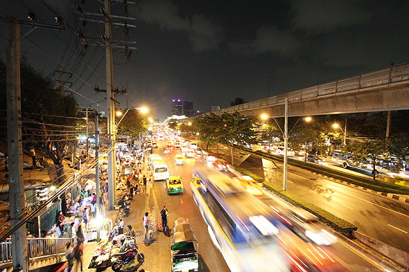 Bangkok city night traffic