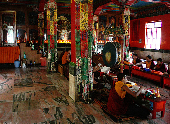 Bylakuppe temple Buddhist study room
