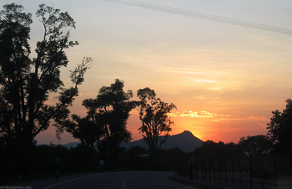 Chennai Bangalore highway sunset