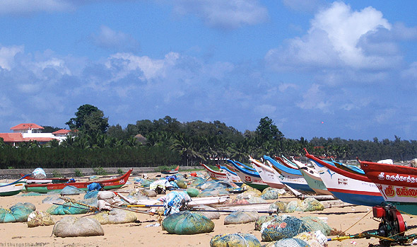 Mamallapuram beach fishing boats