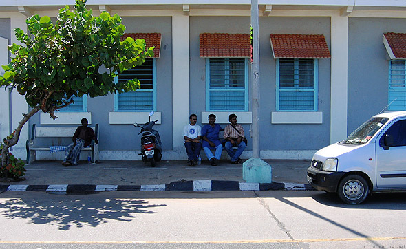 Pondicherry Beach road bench