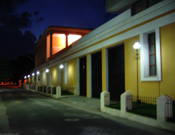 Pondicherry building night street lamp