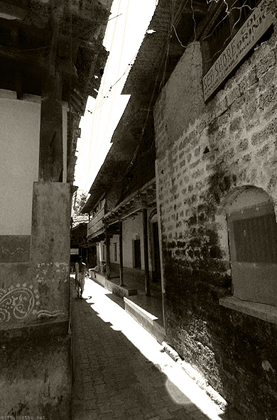 Gokarna town alley black white