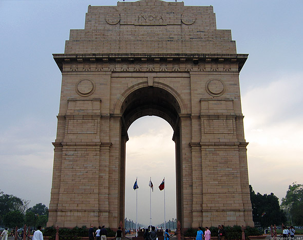 India Gate road New Delhi monument close up