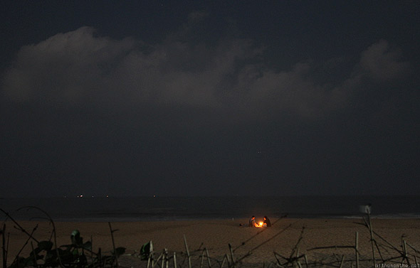 Kudle beach night sky bonfire
