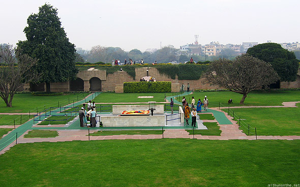 Raj Ghat Mahatma Gandhi memorial from above