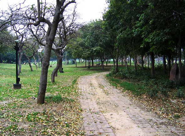 Raj Ghat park New Delhi brick path