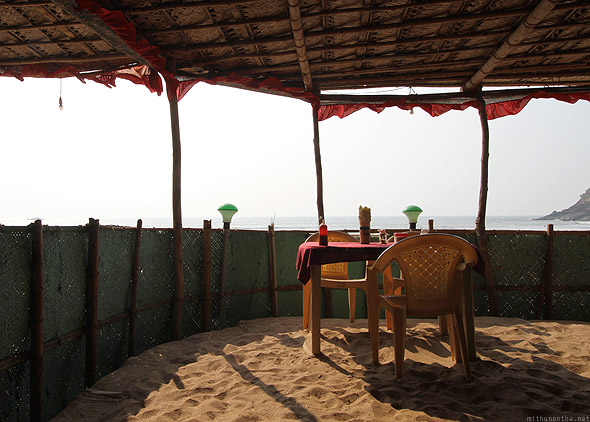 Sunset cafe Kudle beach Gokarna inside