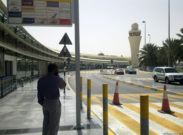 Abu Dhabi airport Acha on the phone
