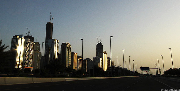 Abu Dhabi corniche road sunset