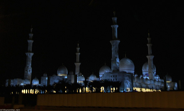 Abu Dhabi Shaikh Zayed mosque night blue