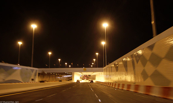 Abu Dhabi underpass night