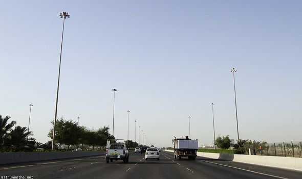 Driving on Abu Dhabi Musaffah highway