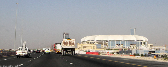 Driving past the Dubai Cricket stadium on Emirates road