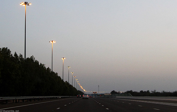 Dubai to Abu Dhabi Emirates road lamp posts