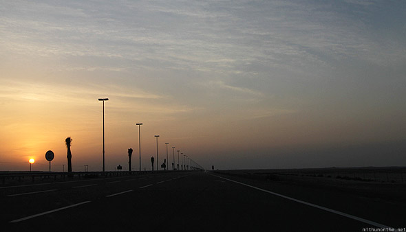 Dubai to Abu Dhabi Emirates road sunset
