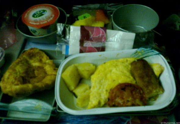 Qatar Airways flight food dinner