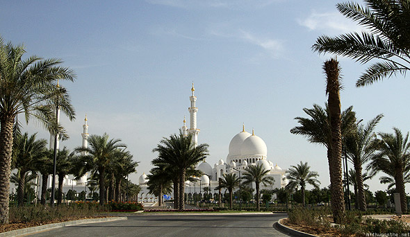 Sheikh Zayed mosque palm trees