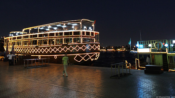 Dubai creek lit up boat