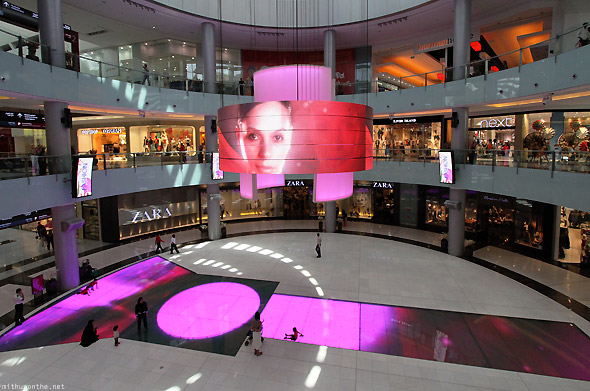 Dubai Mall botique runway digital screen