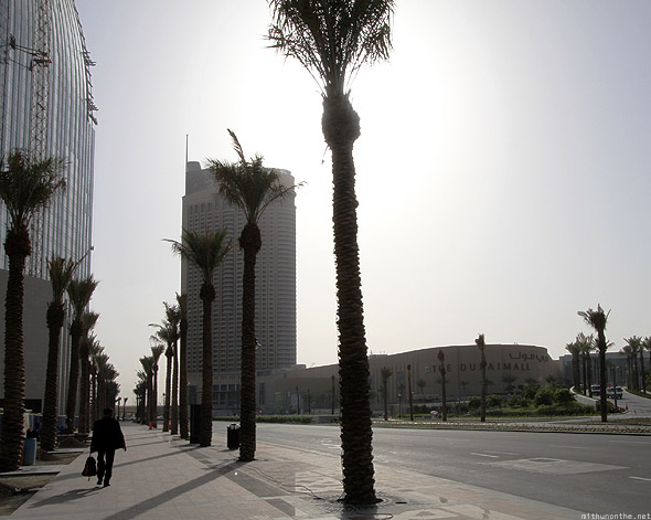 Dubai Mall man suit palm trees