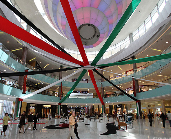 Dubai Mall UAE flag lobby entrance