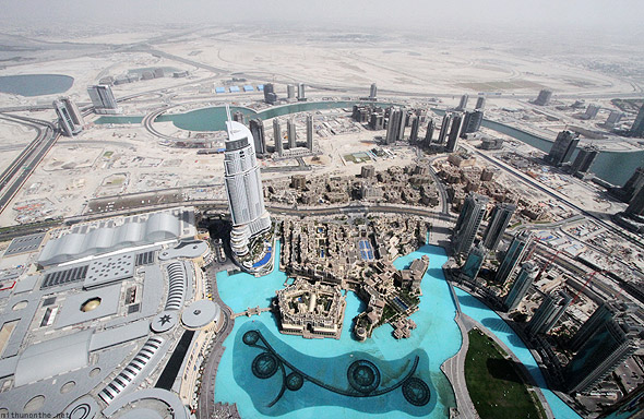 Dubai Mall Burj Khalifa At the Top view fountain