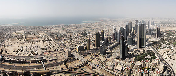 Sheikh Zayed road panorama from Burj Khalifa