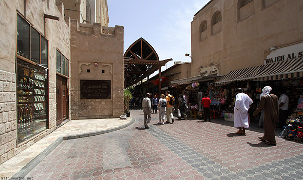 Bur Dubai souk morning wide angle