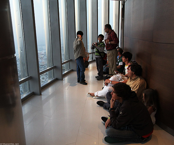 Burj Khalifa tourists watching sunset