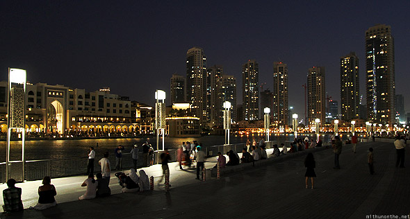 Dubai mall Dubai fountain site at night