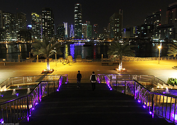 Dubai Marina canal at night buildings