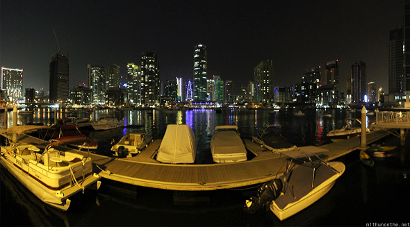 Dubai Marina at night panorama