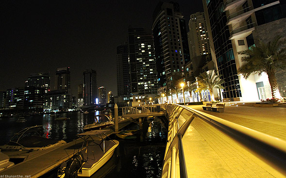 Dubai Marina at night rail