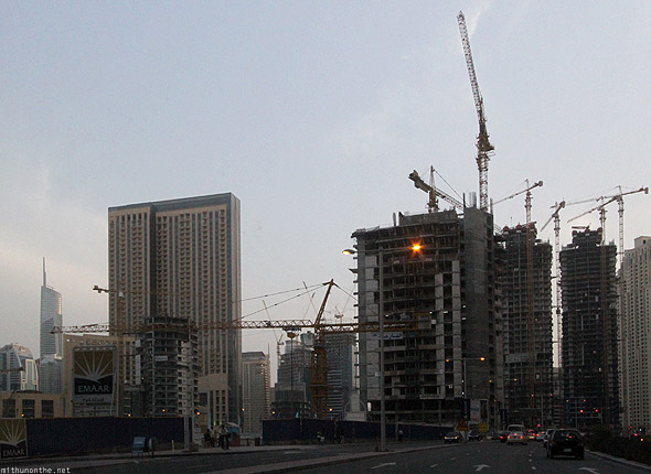 Dubai Marina building construction cranes