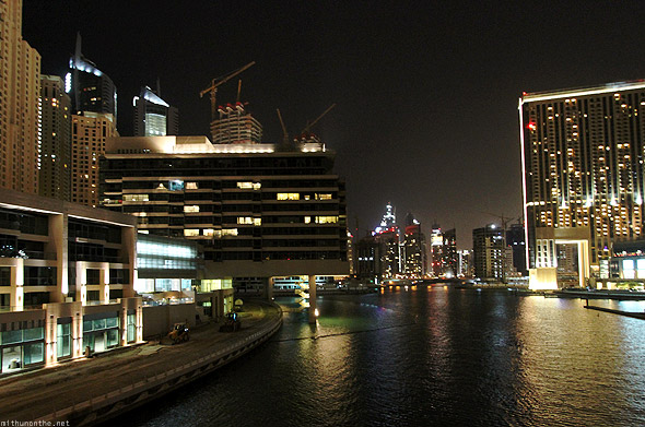 Dubai Marina building lit up
