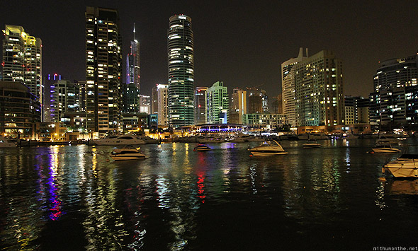 Dubai Marina at night canal private boats yachts