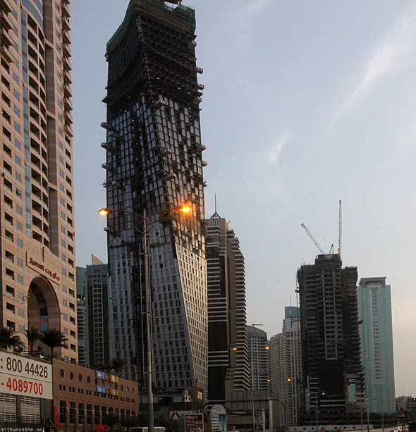 Dubai Marina construction twisting building Infinty tower