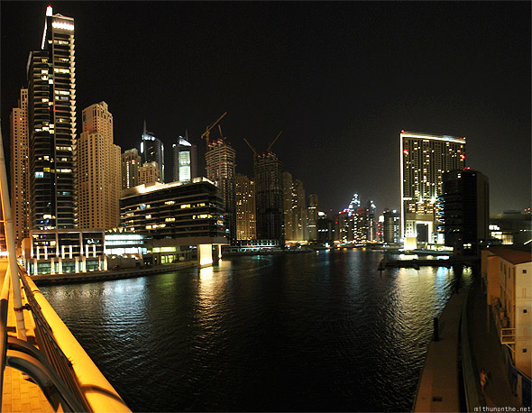 Dubai Marina from bridge panorama