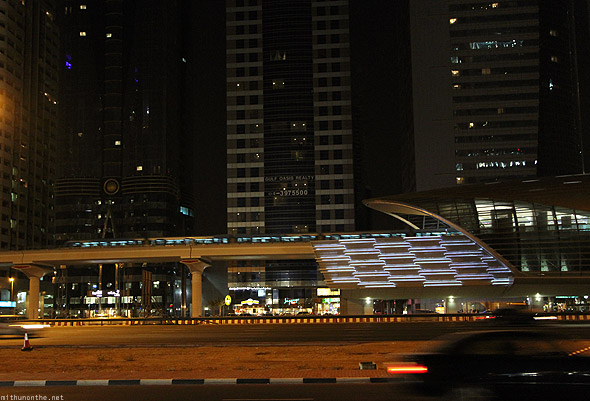 Dubai Metro station train late night