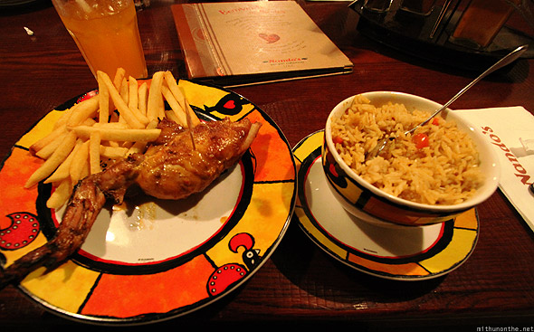 Dubai Nando's chicken dinner