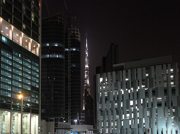 Dubai offices at night Burj Khalifa