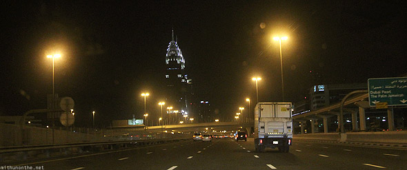 Dubai Sheikh Zayed road at night