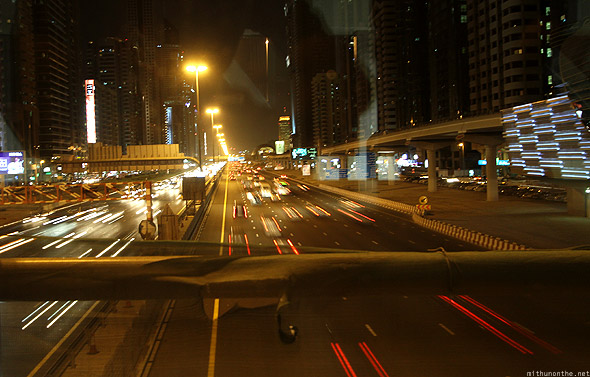 Sheikh Zayed road traffic from Dubai metro