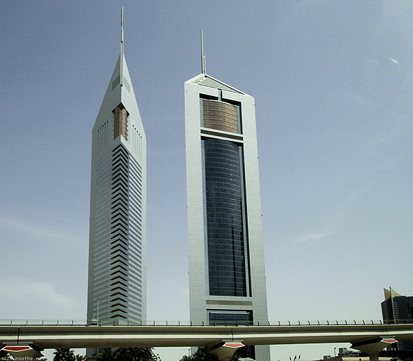 Emirates Towers Dubai from car