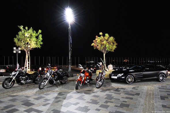 Jumeirah The Walk at night cars bikes